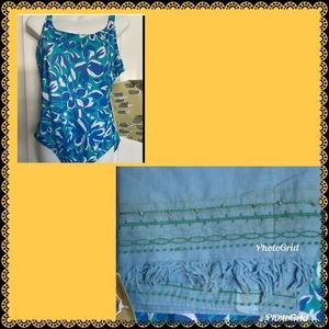 NWT swimsuit with matching Sarong 1 piece size 14
